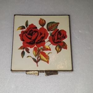 Other - Vintage Square Mirror Compact, Roses Design